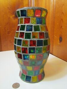 "Mosaic Stained Glass Tile Hurricane Chimney Shade Candle Lamp 9.5""H x 5""W EUC"