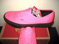 Vans Authentic Mens Black Outsole Neon Pink Canvas Skate Boat Shoes VN0A348ALVY
