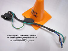 """Samsung 46"""" LNT4661FX/XAA OEM AC Power Socket with cable leads to Power Supply"""