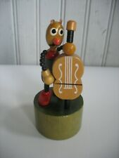 Vtg Wood toy push button puppet Insect Bug Musical instrument bass Germany?