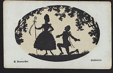 1919 silhouette artist signed The Explanation on knees Romance Germany postcard