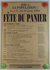 Affiche Marseille 1994 Avis à la population Fête du Panier /2PB