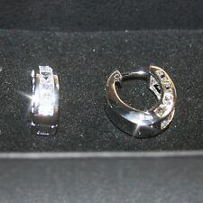 Princess Diamond Alternatives 3.2cts Hoop Earrings 14k White Gold Over Base
