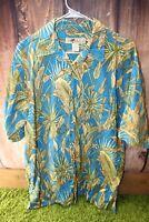 Joe Marlin Large Cotton Blue Green Tropical Short Sleeve Button Men's Shirt
