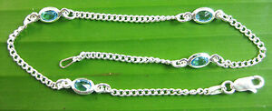 """MADE IN ITALY 925 Sterling Silver Blue CZ 2 mm curb BRACELET anklet 5.25""""-9.5"""""""