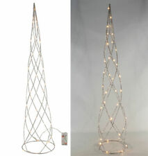 Pyramide 40 LED silber - 80 cm - Weihnachts Deko beleuchtet Lichter Kegel Timer