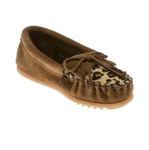 Minnetonka Leopard Loafers Toddler Girls 9 NWOT $40 Dusty Brown