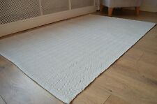 Floor Rug 100 Cotton Herringbone Weave Pebble Natural / White 150x240cm 5x8'
