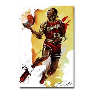 Michael Jordan Flying Dunks Basketball Art Silk Canvas Poster Print 24x36 inch