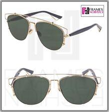 bb0984e6a83c0 CHRISTIAN DIOR TECHNOLOGIC Gold Navy Blue Green Flat Mirrored Sunglasses  Unisex