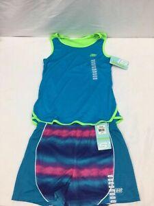 Girls Skechers Active Wear Top & Running Shorts Outfit, Splat.Grad/Grn Gecko