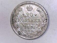 RUSSIA 1876  20 silver Kopeks Uncirculated