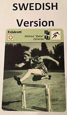 "1982 MILDRED ""BABE"" ZAHARIAS SWEDISH SPORTSCASTER card  - from Sweden"