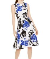 Calvin Klein Womens A-Line Dress White Size 4 Floral-Print Crewneck $139- 297