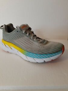 Hoka One One Clifton 5 Running Athletic Shoes Gray Yellow Blue  Womens Size 7