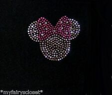 2.5 inch clear/pink Minnie Mouse iron on Disney rhinestone tiny small transfer