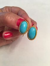 Persian Turquoise Dangle Earrings Vintage 18K Yellow Gold
