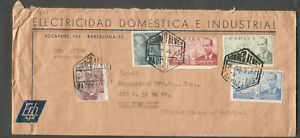 Spain 1946 advertising cover Electricidad Domestica E Industrial Barcelona to NY