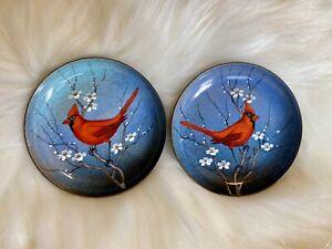 "Signed Serge Nekrassoff ""Cardinal"" Hand Painted Enamel on Copper Plates 4"""