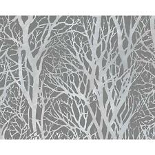 AS CREATION FOREST WOOD TREE METALLIC PEARL MOTIF EMBOSSED WALLPAPER GREY