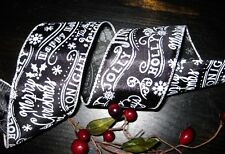 7 Yds. HOLIDAY CHALKBOARD MERRY CHRISTMAS WIRED RIBBON  Wreath TREE Toppers cr