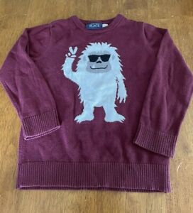 Children's Place Yeti Abominable Snowman Sweater 4T Maroon Red Intarsia 4T