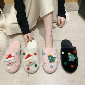 Women Faux Fur Fluffy Slip on Slippers Furry Lined Flats Shoes Xmas Gift
