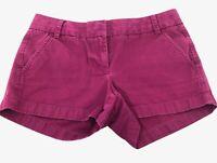 "J. Crew Chino Women's Shorts Size 2 Purple Mid Rise 3"" Inseam Flat Front"