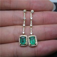 Natural 4x6mm Emerald Cut Colombia Emerald Diamonds 18k Yellow Gold Earrings