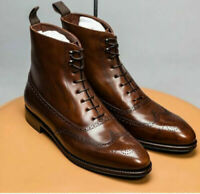 Men's Handmade Brown Fashion Brogue Ankle High Leather Lace Up Wing Tip Boots,