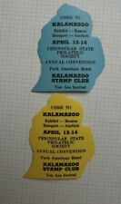Kalamazoo Stamp Club Expo Bourse Invite Souvenir Label Ad 1 Pair