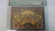 5000 RUBLES FROM CIVIL WAR ERA RUSSIA 1919 PICK 105 A PMG 64 EPQ