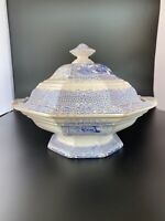 ANTIQUE Large Blue Staffordshire Transferware Covered Tureen Dish - Alcock Gipsy