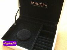 AUTH Pandora Beige Cream colour Small Leather Organizer Jewellery Case Box