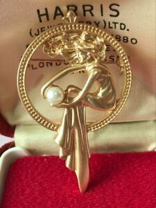 Beautiful Art Nouveau inspired Lady Holding a Pearl BROOCH Shawl Pin