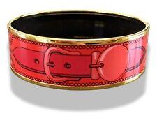 Hermes [109] 32 - Mono Rouge Enamel COLLIERS DE CHIEN Wide Bangle Bracelet Sz65