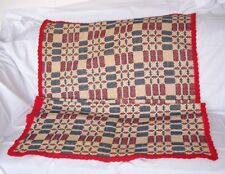 Antique Wool & Linen Coverlet Geometric / Overshot Red / Blue / White/ Red Edge