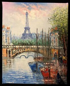Original Impressionist Oil Painting Signed Paris Eiffel Tower Impasto