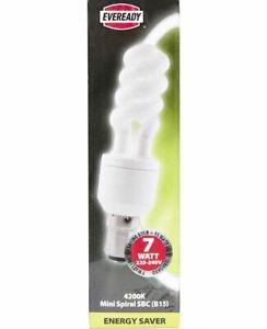 7W= 35W Small Bayonet SBC B15 CFL Spiral Light Bulb Lamp Cool White 4200K