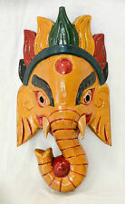 Wooden Handcrafted Lord Ganesh Elephant Head Mask Home Decor Ornaments Nepal