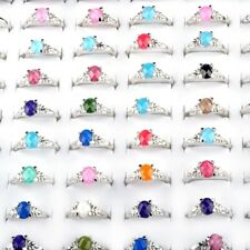 50pcs Mixed wholesale jewelry lots cat-eye silver plated rings jewelry Charms