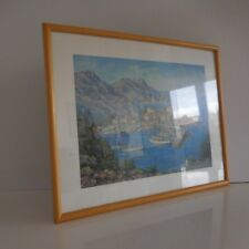 Reproduction lithographie peinture huile Maurice SCHAWB paysage marin France