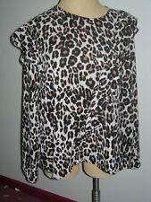 a91ee93be87575 Lane Bryant 26 Animal Print Asymmetric Ruffled Blouse Long Sleeve Top 26w  3x 4x