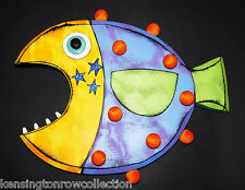 WALL ART - FANCIFUL FISH WALL SCULPTURE - WIDE MOUTH FISH