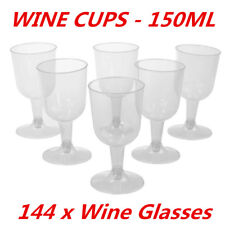 144pcs Clear Disposable Party Plastic Red White Wine Glass 150ml Cups Function