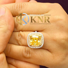 14K White Gold Cushion Yellow Topaz Round Cut Diamond Ring Split Band Halo 6.50