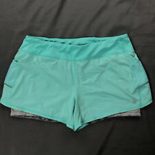 Athleta Double Running Shorts Pockets Womens Sz XL Teal Gray Athletic Workout