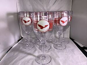 Lot Of 8 Tervis Tumbler Wine Glasses Welcome Home With Eagle Lightly Used Red
