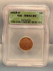 1915 D Lincoln Wheat Cent MS 63