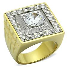 ring sz 8 -12 #07379 free ship Mens Stainless Steel Ion Plated Cubic Zirconia